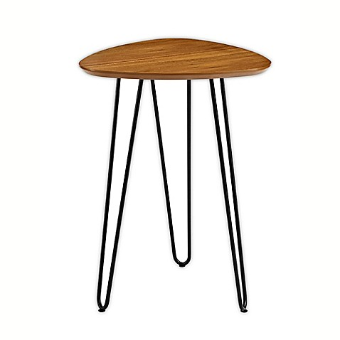 image of Forest Gate Hairpin Leg Wood Side Table in Walnut