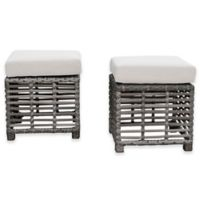 Panama Jack Graphite Outdoor Ottomans in Grey (Set of 2)