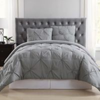 Truly Soft Pleated Twin XL Comforter Set in Grey