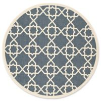 Safavieh Courtyard 6-Foot 7-Inch x 6-Foot 7-Inch Raelyn Indoor/Outdoor Rug in Navy/Beige