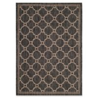 Safavieh Courtyard 6-Foot 7-Inch x 9-Foot 6-Inch Sky Indoor/Outdoor Rug in Natural/Black