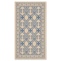 Safavieh Courtyard 2-Foot 7-Inch x 5-Foot Hope Indoor/Outdoor Rug in Natural/Blue