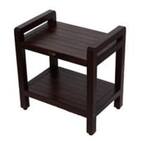 Classic™ Solid Teak 20-Inch Stool with Aide™ Arms and Shelf