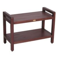 Classic™ Solid Teak 29-Inch Stool with Aide™ Arms and Shelf