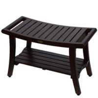 Harmony™ 30-Inch Teak Bench with Shelf and LiftAide™ Arms