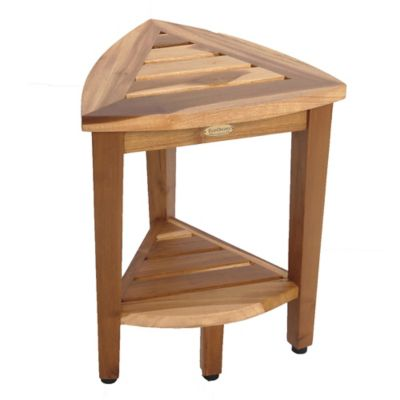 EcoDecors® EarthyTeak™ Oasis 18 Inch Teak Corner Shower Stool With Shelf