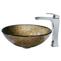 Vigo VGT139 Textured Copper Glass Vessel and Faucet Set in Chrome