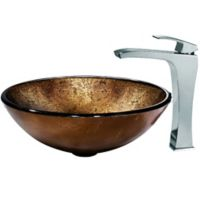 Vigo VGT141 Russet Glass Sink and Vessel Faucet Set in Chrome