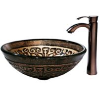 Vigo VGT150 Golden Greek Glass Sink and Vessel Faucet Set in Oil Rubbed Bronze