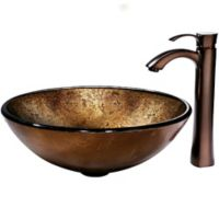 Vigo VGT152 Russet Glass Sink and Vessel Faucet Set in Oil Rubbed Bronze