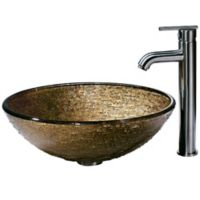 Vigo VGT154 Textured Copper Glass Vessel Sink and Faucet Set in Brushed Nickel