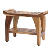 EcoDecors® EarthyTeak Tranquility 24-Inch Bench with Shelf