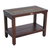 EarthyTeak™ Classic™ DecoTeak® 24-Inch Teak Spa Bench with Rattan and Shelf
