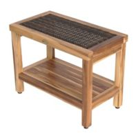 EcoDecors® EarthyTeak Classic™ 24-Inch Teak Satori Stool with Rattan and Shelf