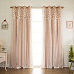 Decorinnovation Floral Lace Overlay 84-Inch Blackout Window Curtain Panel Pair in Light Pink