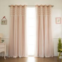 Decorinnovation Floral Lace Overlay 96-Inch Blackout Window Curtain Panel Pair in Light Pink