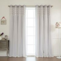 Decorinnovation Floral Lace Overlay 84-Inch Blackout Window Curtain Panel Pair in Lilac