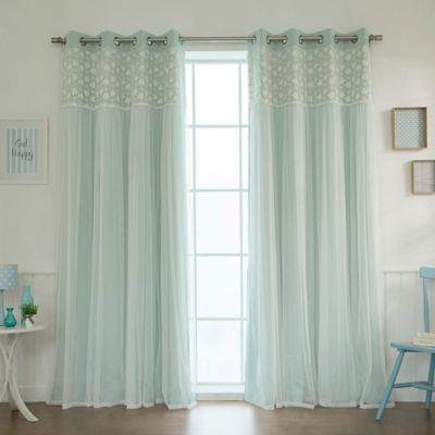 Decorinnovation Floral Lace Overlay 84 Inch Blackout Window Curtain Panel Pair In Mint