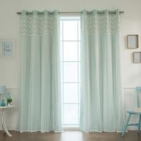 Decorinnovation Floral Lace Overlay 84-Inch Blackout Window Curtain Panel Pair in Mint