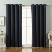 Decorinnovation Solid Cotton Blend 84-Inch Blackout Window Curtain Panel Pair in Navy