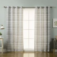 Decorinnovation Nordic Geometric Tribal 84-Inch Grommet Top Window Curtain Panel Pair in Grey
