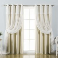 Decorinnovation Mix & Match Dimanche 96-Inch Blackout Window Curtain Panel Pair in Beige