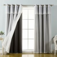 Decorinnovation Mix & Match Dimanche 96-Inch Blackout Window Curtain Panel Pair in Black