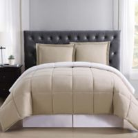 Truly Soft Everyday Reversible XL Twin Comforter Set in Khaki/Ivory