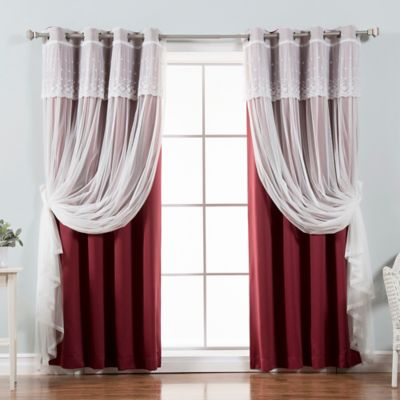 white curtains of insulated thermal treatment chrome burgundy lattice pack window products cur print panels burg with blackout curtain grommet
