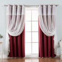 Decorinnovation Mix & Match Dimanche 96-Inch Blackout Window Curtain Panel Pair in Burgundy