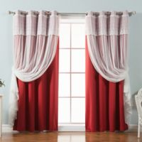 Decorinnovation Mix & Match Dimanche 96-Inch Blackout Window Curtain Panel Pair in Red