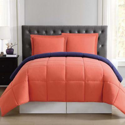 truly soft everyday reversible xl twin comforter set in orangenavy