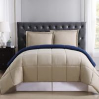 Truly Soft Everyday Reversible XL Twin Comforter Set in Khaki/Navy