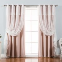 Decorinnovation Mix & Match Dimanche 96-Inch Blackout Window Curtain Panel Pair in Dusty Pink
