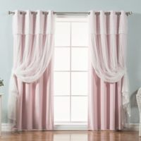 Decorinnovation Mix & Match Dimanche 96-Inch Blackout Window Curtain Panel Pair in Light Pink