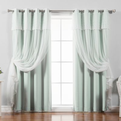 Decorinnovation Mix Match Dimanche 84 Inch Blackout Window Curtain Panel Pair In Mint