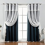 Decorinnovation Mix & Match Dimanche 84-Inch Blackout Window Curtain Panel Pair in Navy
