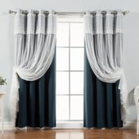 Decorinnovation Mix & Match Dimanche 96-Inch Blackout Window Curtain Panel Pair in Navy