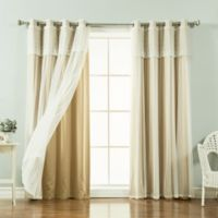 Decorinnovation Mix & Match Dimanche 96-Inch Blackout Window Curtain Panel Pair in Wheat