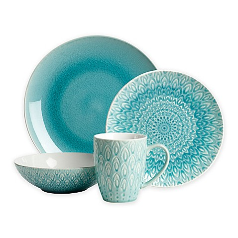 Euro Ceramica Peacock 16-Piece Dinnerware Set in Turquoise  sc 1 st  Bed Bath \u0026 Beyond : dinnerware turquoise - pezcame.com