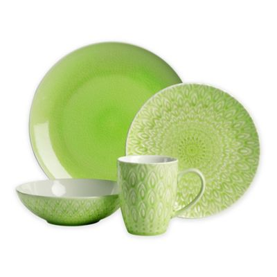 Euro Ceramica Peacock 16-Piece Dinnerware Set in Green  sc 1 st  Bed Bath \u0026 Beyond : green plate set - pezcame.com