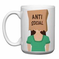 """Love You a Latte Shop """"Anti-Social"""" Mug in White"""
