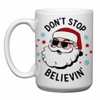"Love You a Latte Shop ""Don't Stop Believin'"" Santa Mug in White"