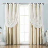 Decorinnovation Mix & Match Tulle 63-Inch Blackout Window Curtain Panel Pair in Beige