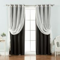 Decorinnovation Mix & Match Tulle 84-Inch Blackout Window Curtain Panel Pair in Black