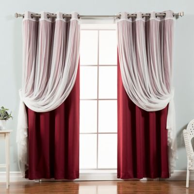Decorinnovation Mix Match Tulle 84 Inch Blackout Window Curtain Panel Pair In Burgundy