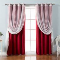Decorinnovation Mix & Match Tulle 84-Inch Blackout Window Curtain Panel Pair in Cardinal Red