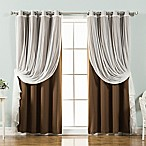 Decorinnovation Mix & Match Tulle 63-Inch Blackout Window Curtain Panel Pair in Chocolate