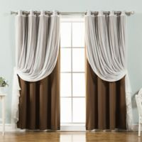 Decorinnovation Mix & Match Tulle 84-Inch Blackout Window Curtain Panel Pair in Chocolate