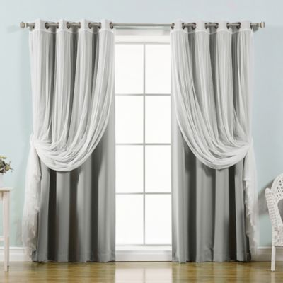 Decorinnovation Mix U0026 Match Tulle 63 Inch Blackout Window Curtain Panel  Pair In Grey